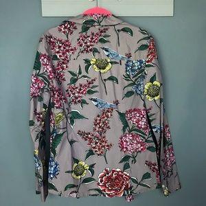 Boden Floral Bird Print Button Up Long Sleeve